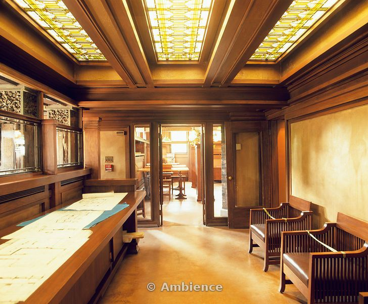 frank lloyd wright home & studio, interior shot, stain glass
