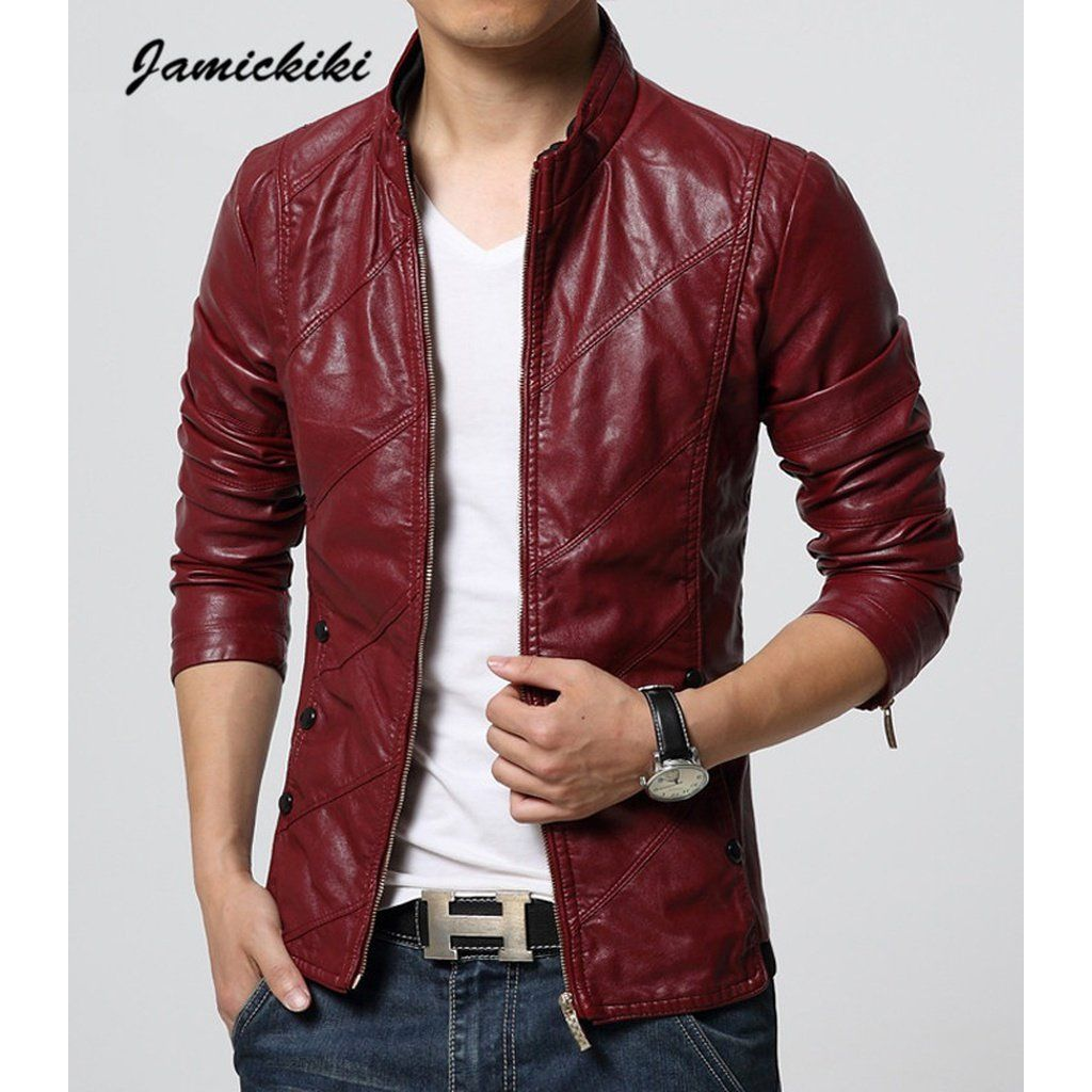 New Autumn Fashion Men Washed Leather Jacket. Available in