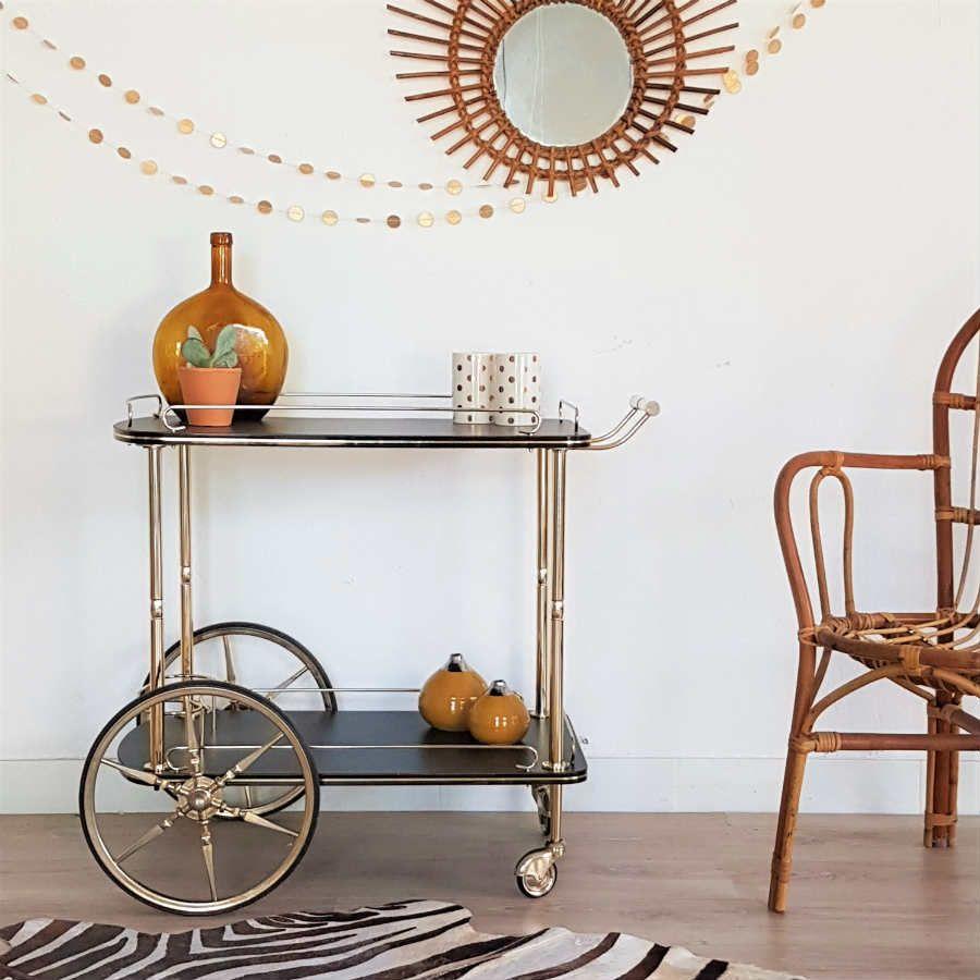 desserte roulette vintage roulettes noir et or chrom r tro ann es 60 chouette fabrique. Black Bedroom Furniture Sets. Home Design Ideas
