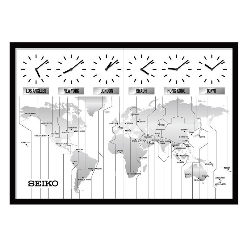 Have to have it seiko contemporary wall map with 6 time zone clocks seiko contemporary wall map with 6 time zone clocks x in always know the time around the world with the seiko contemporary wall map with 6 time zone gumiabroncs