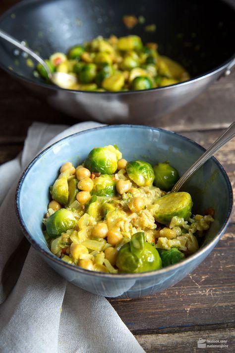 Rosenkohl-Curry mit Kichererbsen #veganerezepte