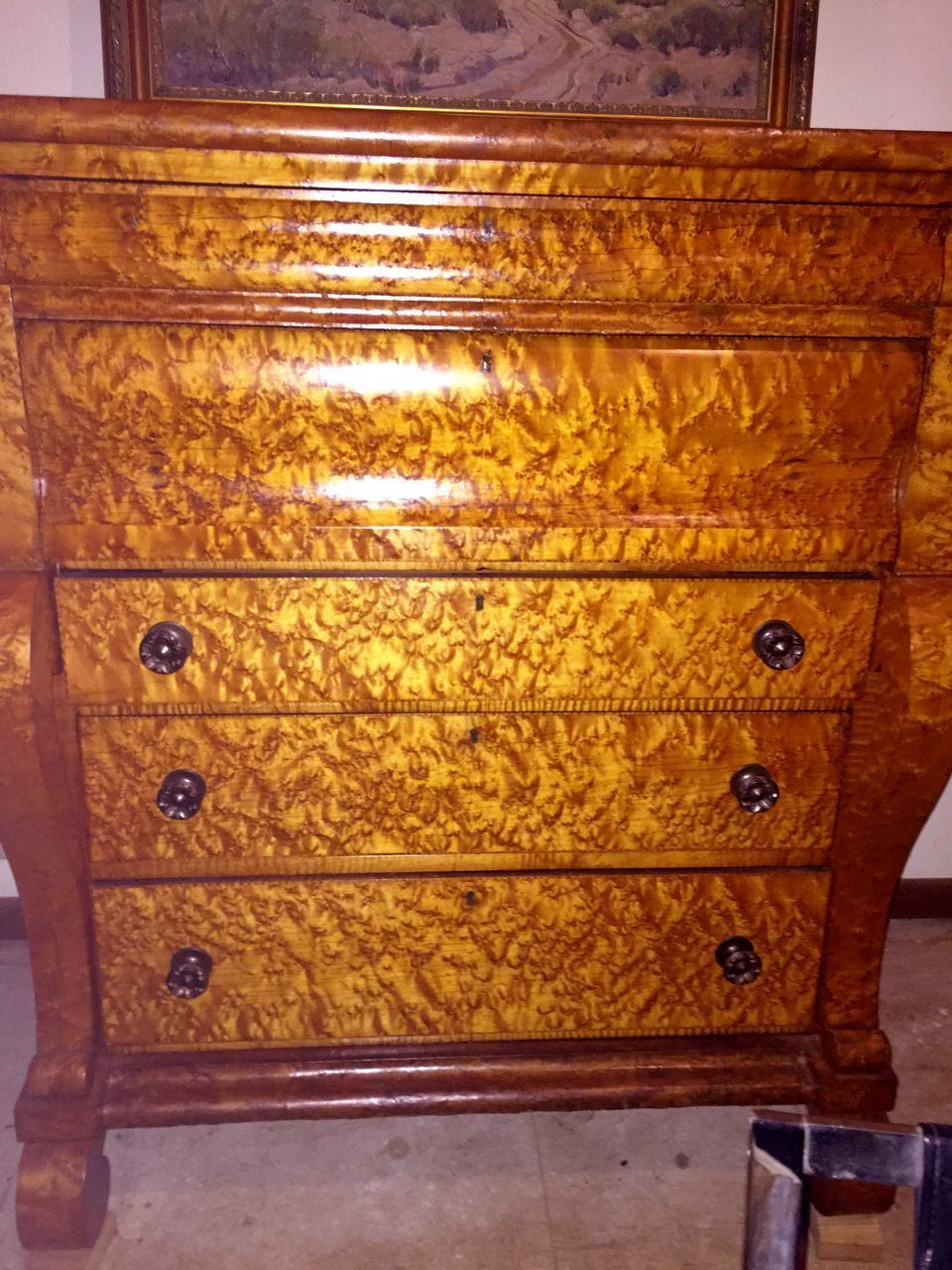 Magnificent Antique Rare Empire Birdseye Maple Bachelor's Chest from… - SALE! Magnificent Antique Rare Empire Birdseye Maple Bachelor's