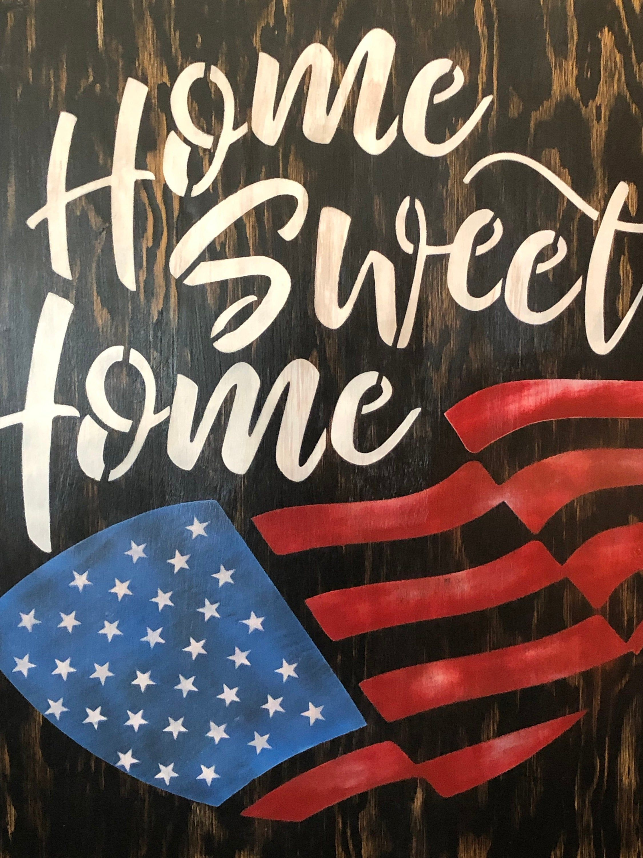 Home Sweet Home 24x24 American Flag Wood Sign Etsy In 2020 American Flag Wood Patriotic Sign Porch Signs