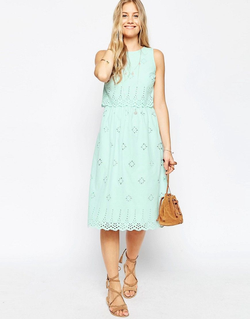 5a4efd8527310 Image 1 of ASOS Midi Broderie Double layer Sundress | Fashion ...
