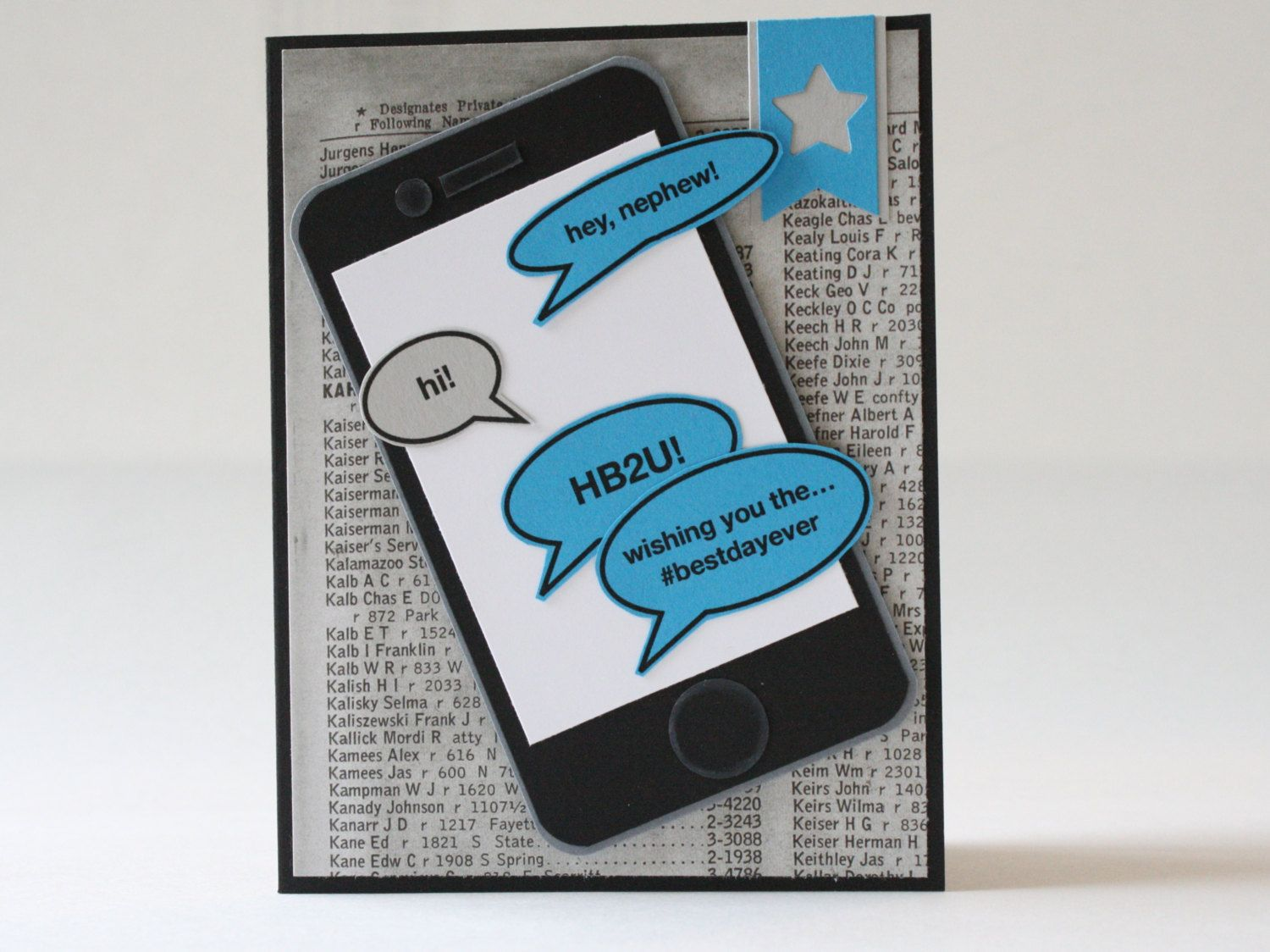 Birthday Card Handmade Nephew Text IPhone Cell Phone For Boy Blue Gray Black Greeting Handcrafted By BeyondTheReam