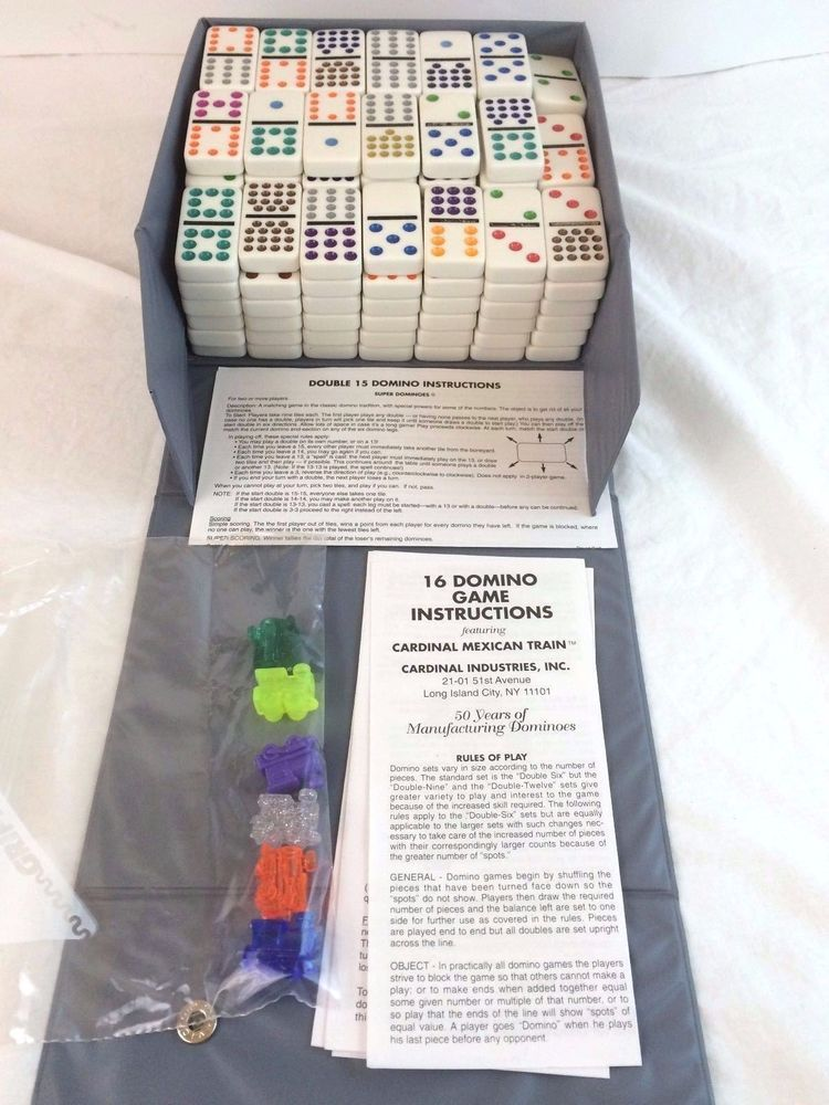 Vintage Cardinal Double 12 Dominoes Set 136 Tiles Mexican Train Case