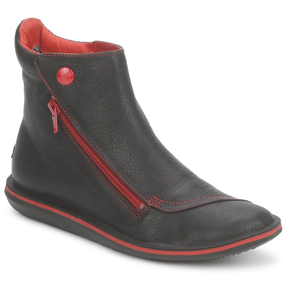 3a1dd8f175370 Boots Camper BEETLE MID Nero   Rosso - Consegna gratuita con Spartoo.it ! -  Scarpe Donna 155