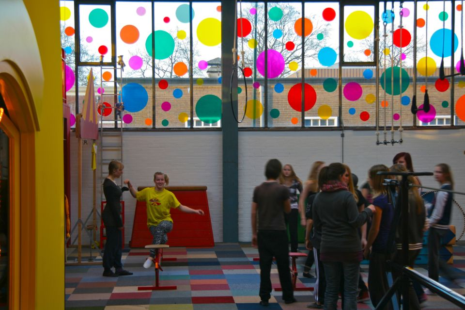 Transformation of a former railway transit warehouse to a beautiful circus school in Amersfoort by agnova architects.