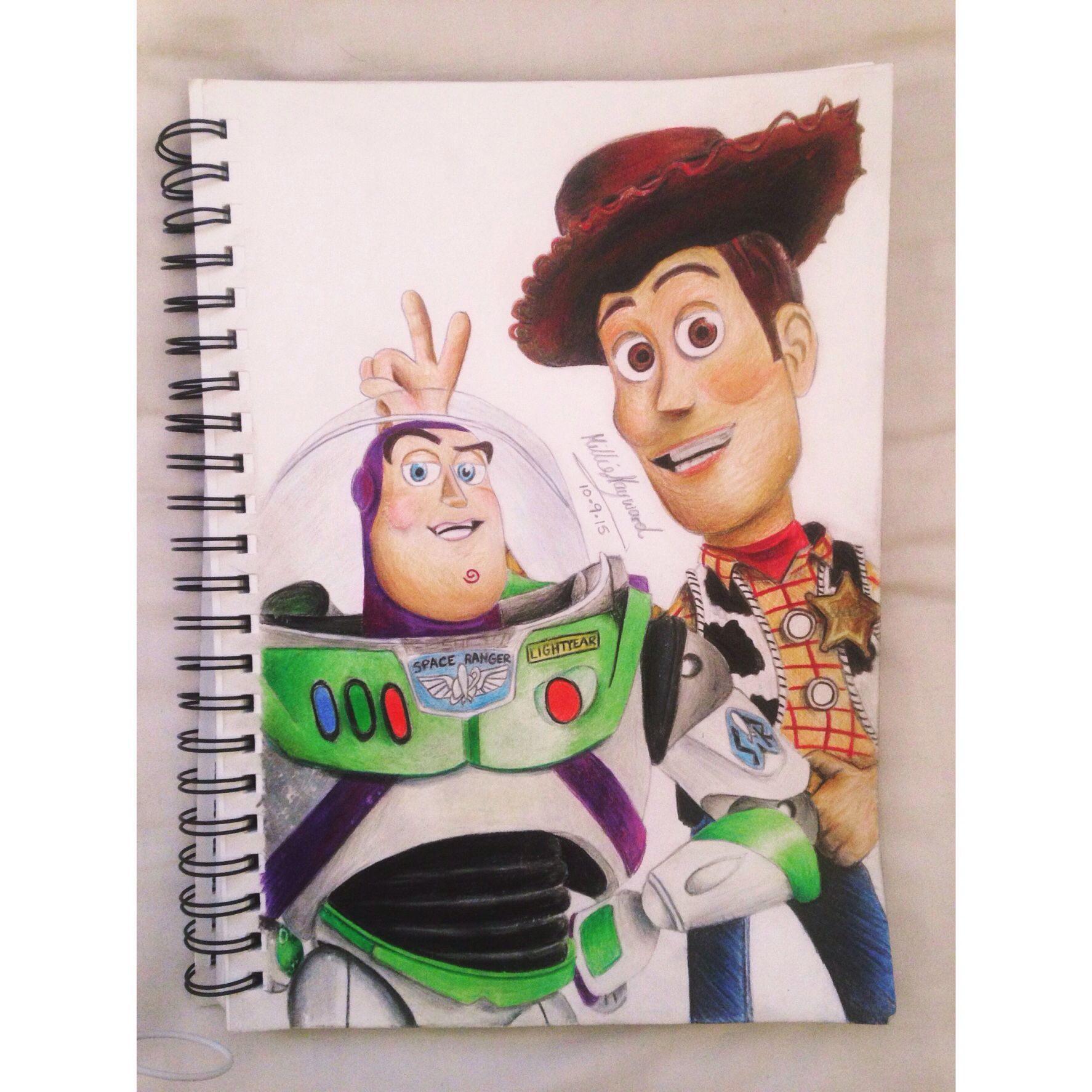 Toy Story S Woody Buzz Lightyear Free Hand Drawing Using Coloured Pencils Find On Instagram Milliehay Disney Art Drawings Disney Drawings Disney Sketches