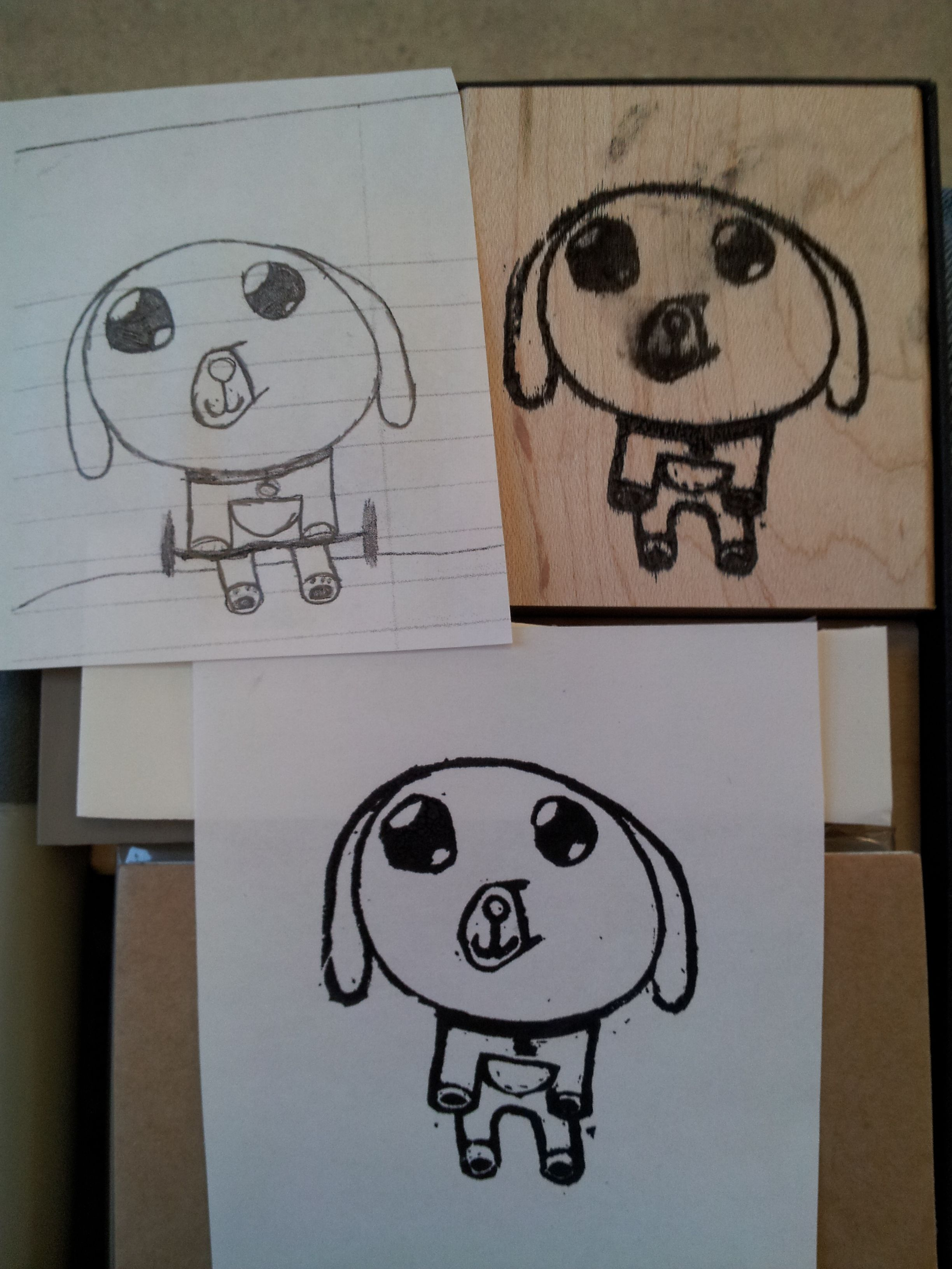 Stampin' Up! Undefined Stamp.  Faith drew me a Littlest Pet Shop character and I carved it out into a stamp for her. - Laura Hill