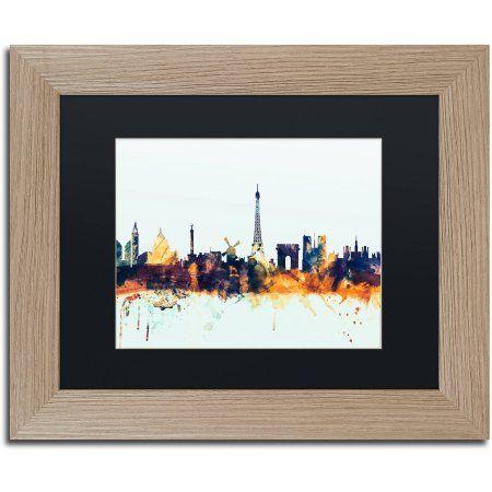 Trademark Fine Art Paris France Skyline Blue Canvas Art by Michael Tompsett, Black Matte, Birch Frame, Size: 16 x 20, Multicolor