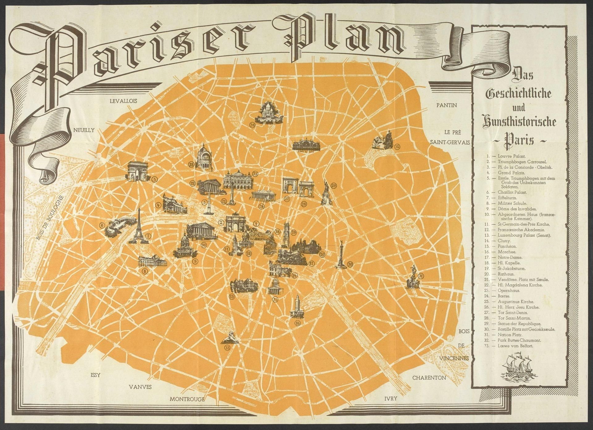 Tourist map of Paris given to German troops during WW2 occupation