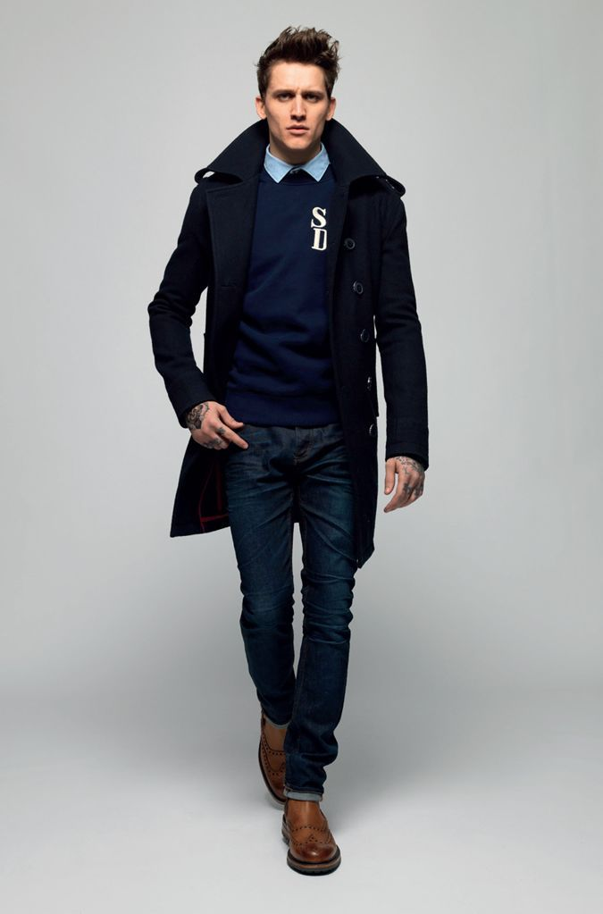 Men 39 S Navy Pea Coat Navy Crew Neck Sweater Blue Dress