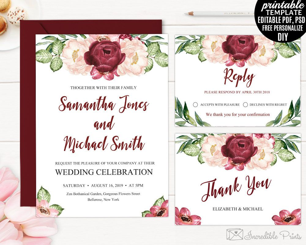 Wedding Invitation Template Printable Marsala Watercolor Flowers - Wedding invitation set templates