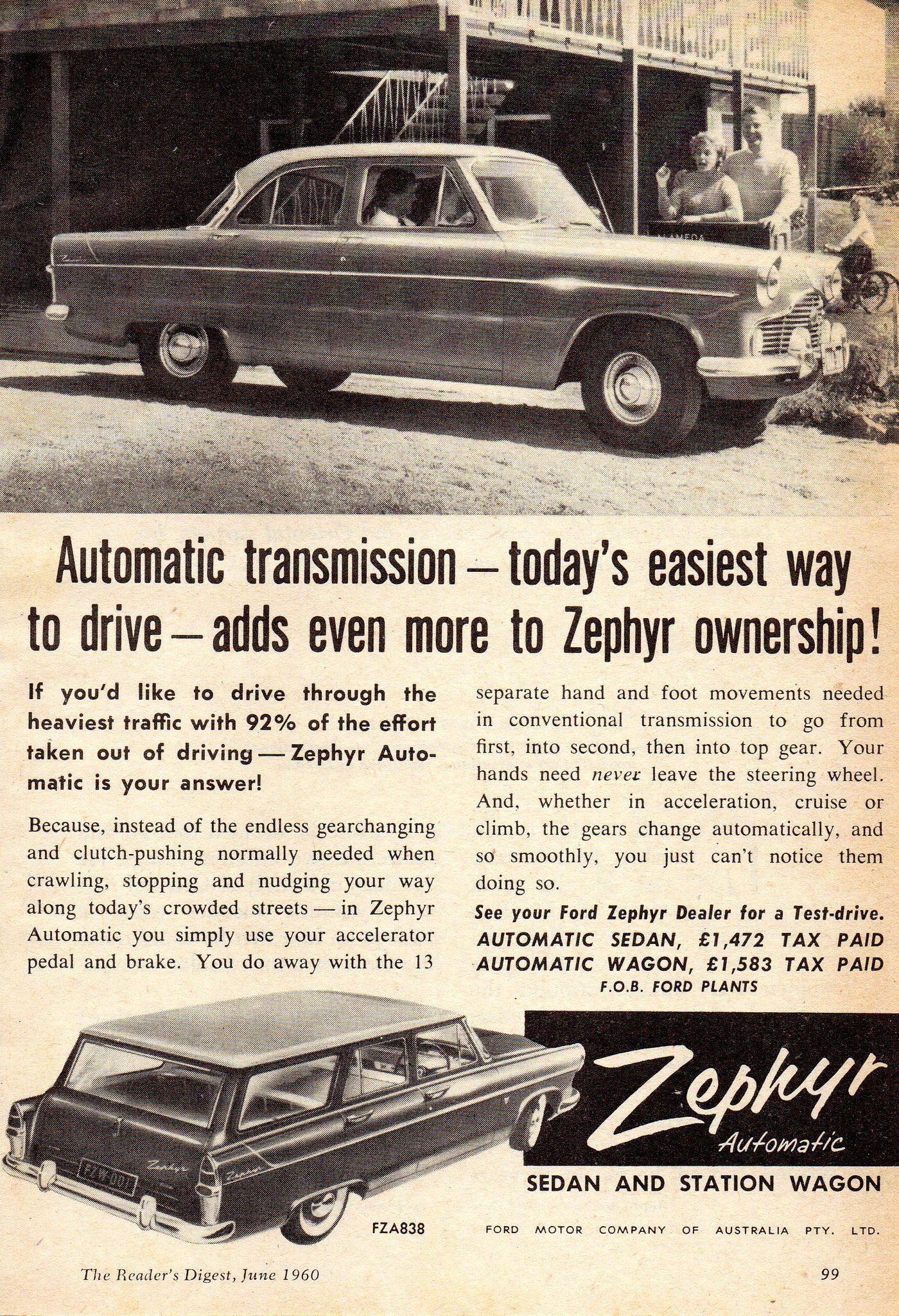 1960 Ford Zephyr Automatic Sedan Wagon Aussie Original Mgazine