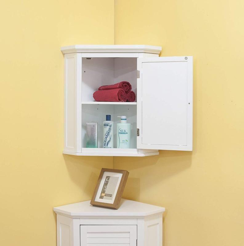 Corner Wall Cabinet Wooden Hanging Bathroom Medicine Organizer 1 Door Storage Cornerwallcabinet Cornerwal Wall Cabinet White Shutters Bathroom Corner Storage