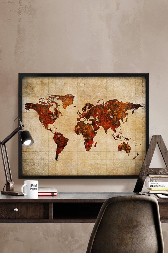 World map poster art print world map vintage style abstract world world map poster art print world map vintage style abstract world map poster travel poster wall art home decor iprintposter gumiabroncs Choice Image