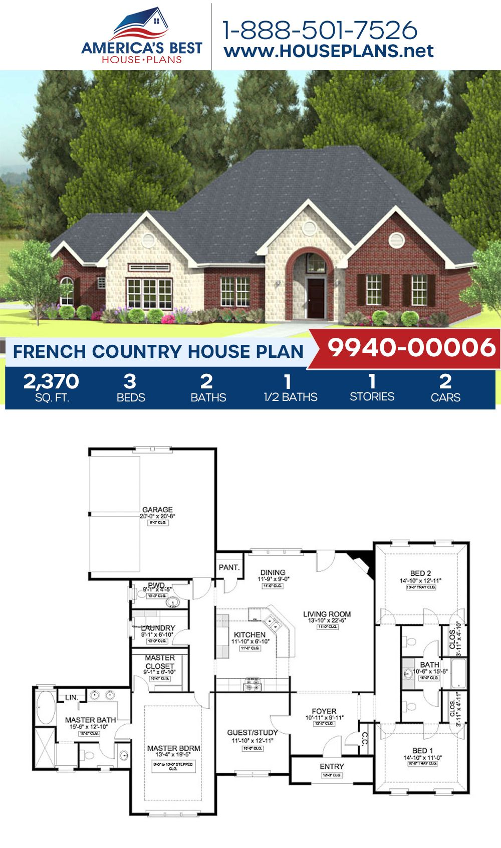 House Plan 9940 00006 French Country Plan 2 370 Square Feet 3 Bedrooms 2 5 Bathrooms In 2020 French Country House Plans French Country House House Plans