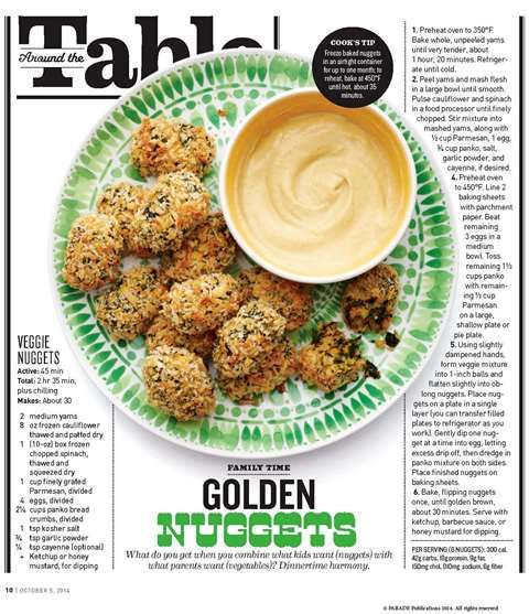 Veggie Nuggets (Parade Magazine - October 5, 2014) I wonder
