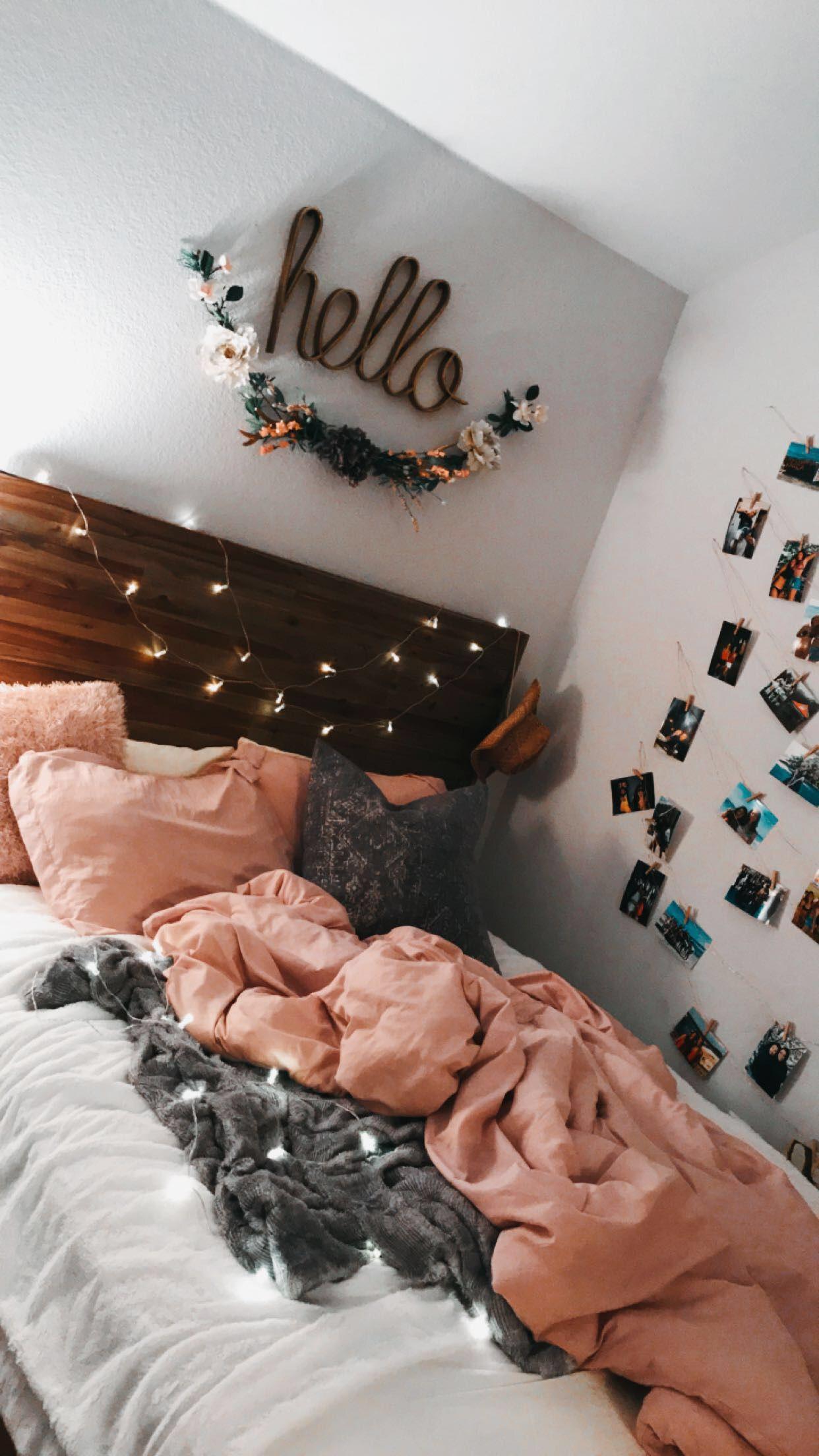 Cute teen bedroom - hello - lights - pink - photos on wall #bedroomgoals