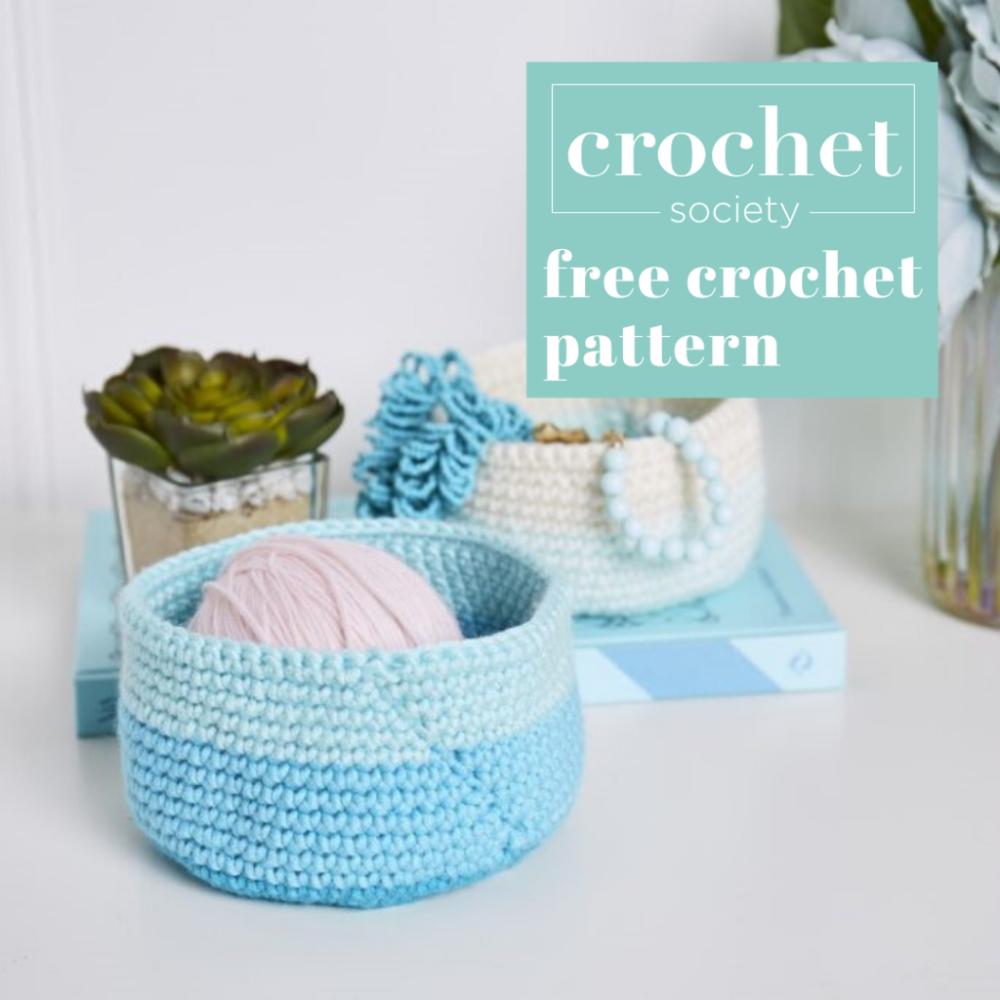 Easy Ombre Crochet Basket Pattern Crochet Society In 2020 Crochet Basket Pattern Free Easy Crochet Patterns Free Crochet Basket