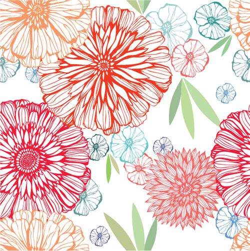 Vivid Flower pattern design vector graphic 03 - Vector ...