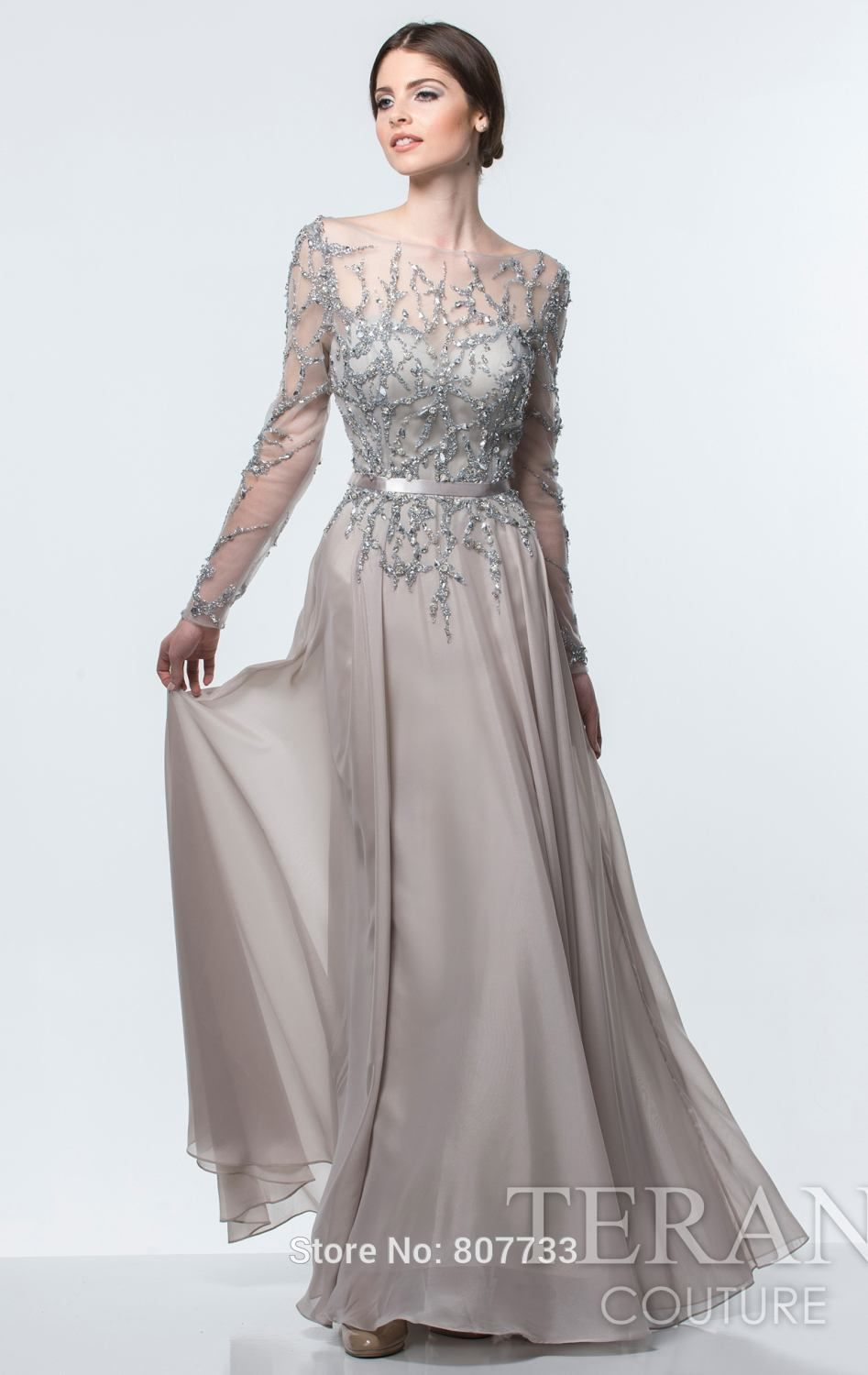 grey long sleeved gown - Google Search | boda CM | Pinterest | Gowns ...