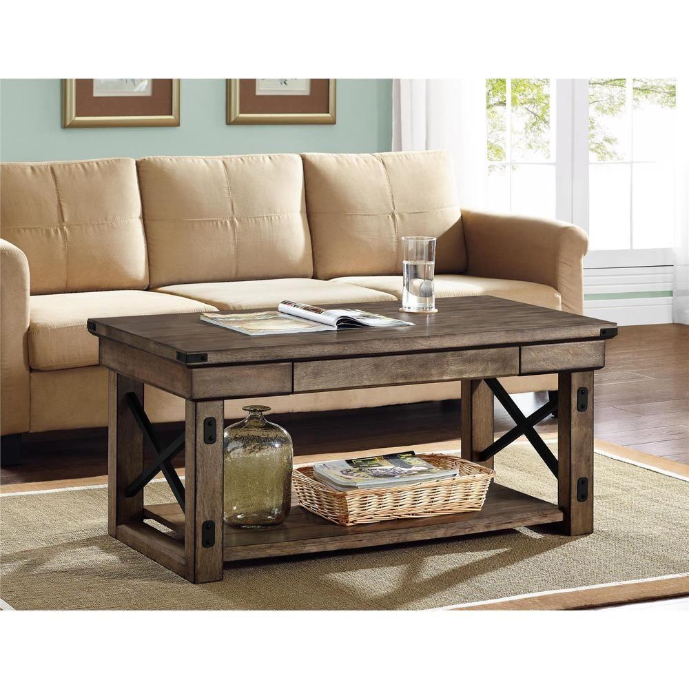 Altra wildwood rustic grey wood veneer coffee table furniture i wildwood wood veneer rustic coffee table gray wash ameriwood home grey geotapseo Images