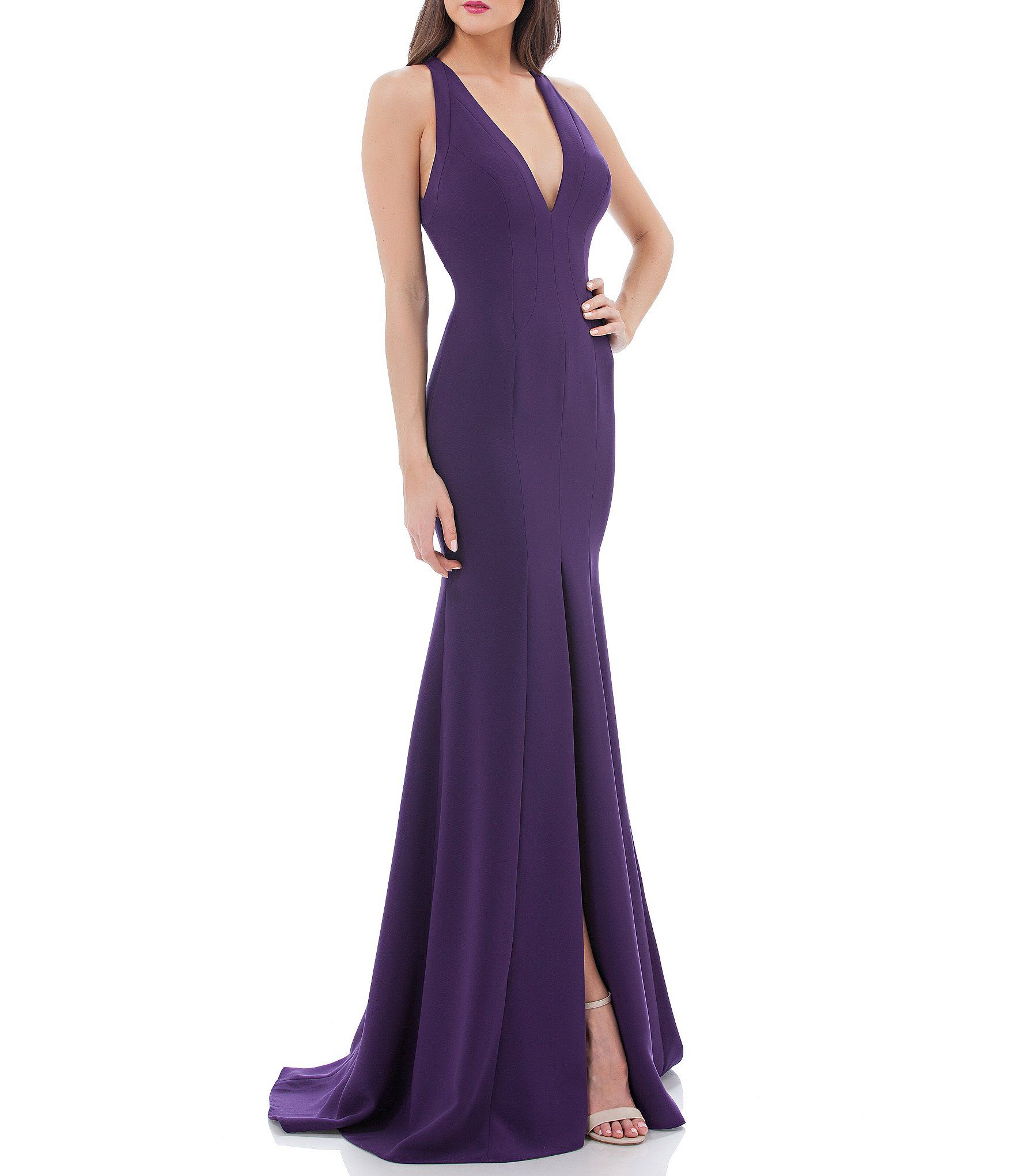 Shop for Carmen Marc Valvo Infusion Plunging V Neck Gown at Dillards ...