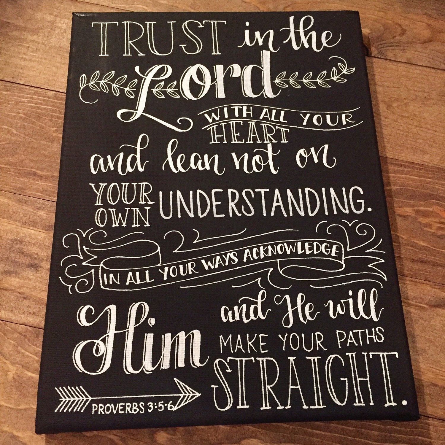 Chalkboard Canvas With Proverbs 3 5 6 Canvas Is 9x12