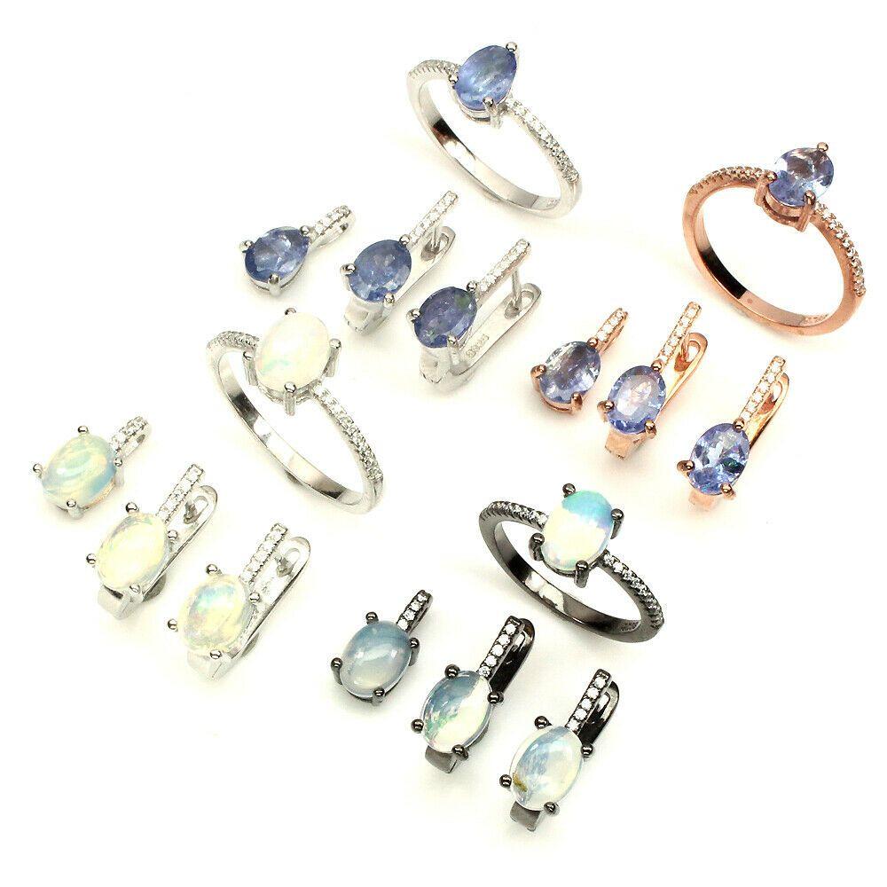 Oval Fire Opal Tanzanite Unheated Cz 925 Sterling Silver Ring Pendant Earrings