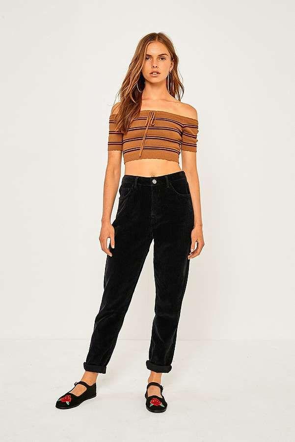 bf7e3349b393dd BDG - Jean mom en velours côtelé noir   Shopping list   Mode