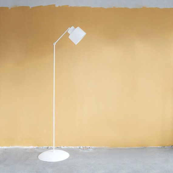 Lovely Floor Lamp In White Color With Modern And Industrial Look The Lamp Is Entirely Hand Made It Is A Modern Floor Lamps Lamps Living Room Black Floor Lamp
