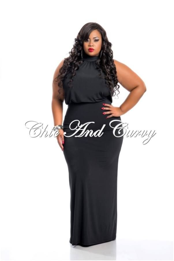 28f12442f88d7 Plus Size Floor Length Halter Maxi Dress in Black restocked at  http   chicandcurvy