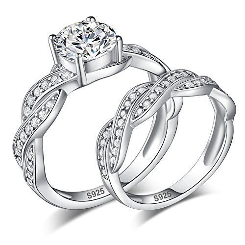 Couple Rings White Topaz Jewelry 100/% 925 Wedding Sterling Silver Size 6 7 8 9
