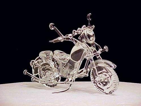 Custom Hand Blown Glass Motorcycle Wedding Cake Top Cakepins