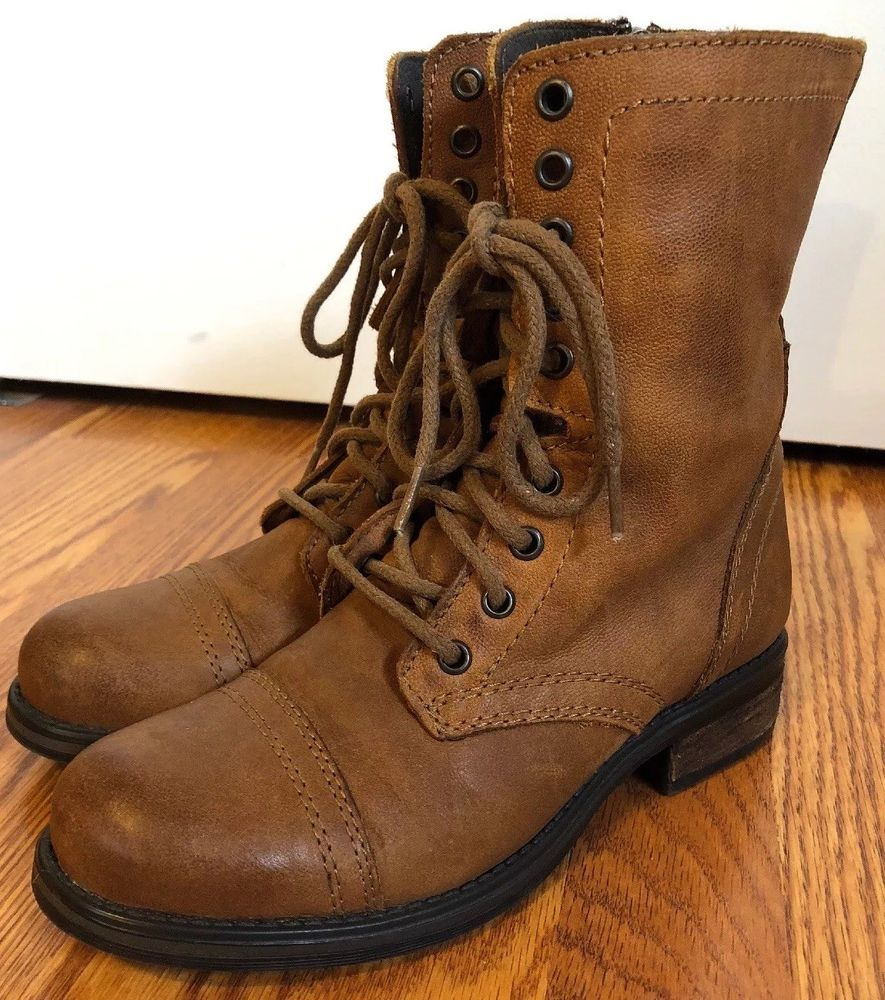fc6c2a6f47c Steve Madden Women s Troopa 2.0 Combat Boot Cognac Leather Size 8.5   fashion  clothing