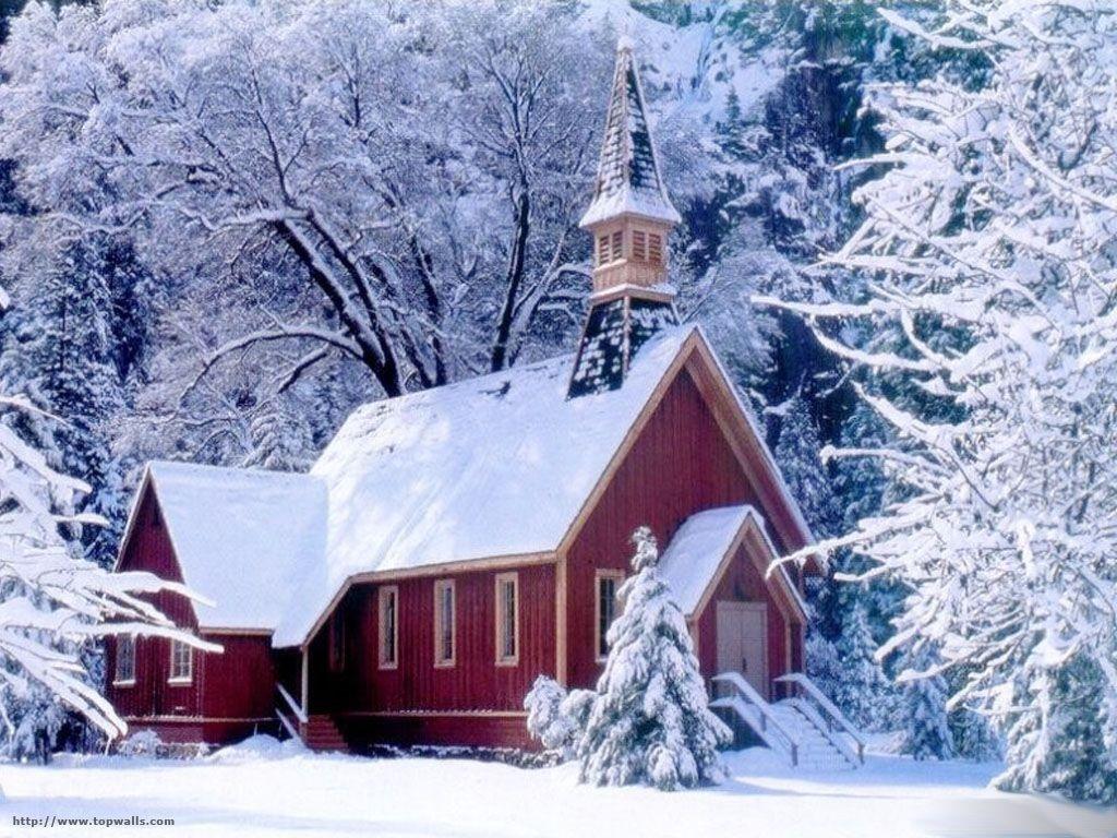 churches winter scenes Free church in winter Wallpaper