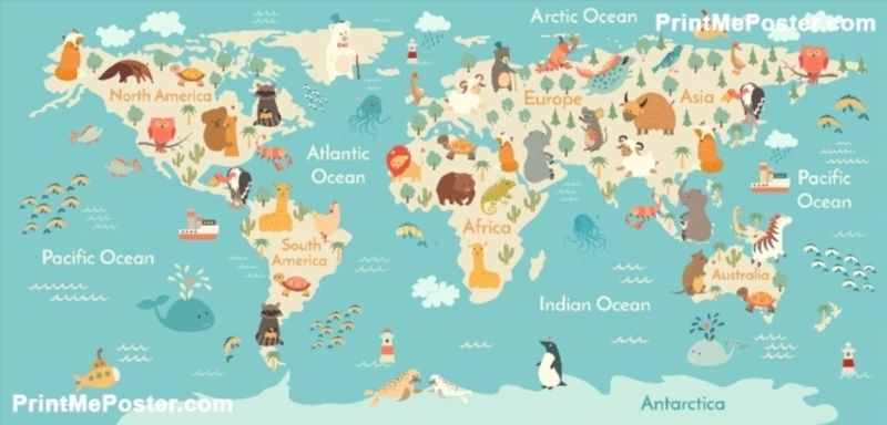 Poster of animals world map poster printmeposter mousepad world map wall paper large photo mural wallpapers roll murals for kids room tv background custom size art wall decor textile gumiabroncs Image collections