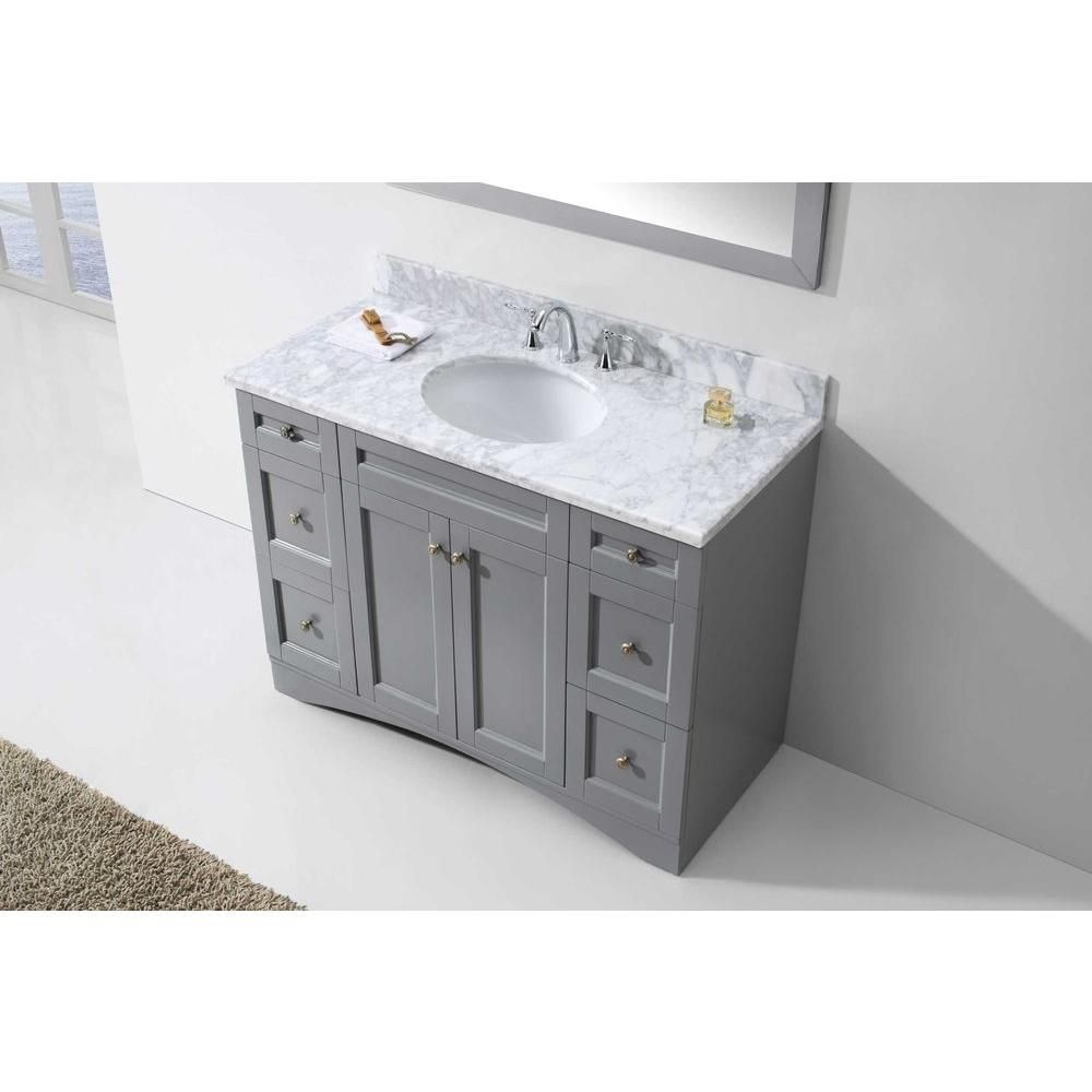 Virtu USA Elise 48 in. W x 22 in. D Vanity in Grey with Marble Vanity Top in White with White Basin-ES-32048-WMRO-GR-NM - The Home Depot