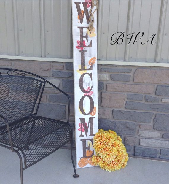 Reversible Fall And Christmas Welcome Porch Signs Holiday Porch Sign This Porch Sign Will Make A Great Touch Porch Signs Porch Welcome Sign Rustic Fall Porch