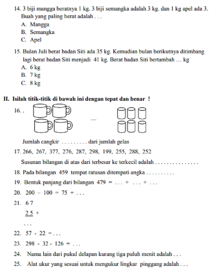Soal Ujian Matematika Sd Kelas 2 Semester 1
