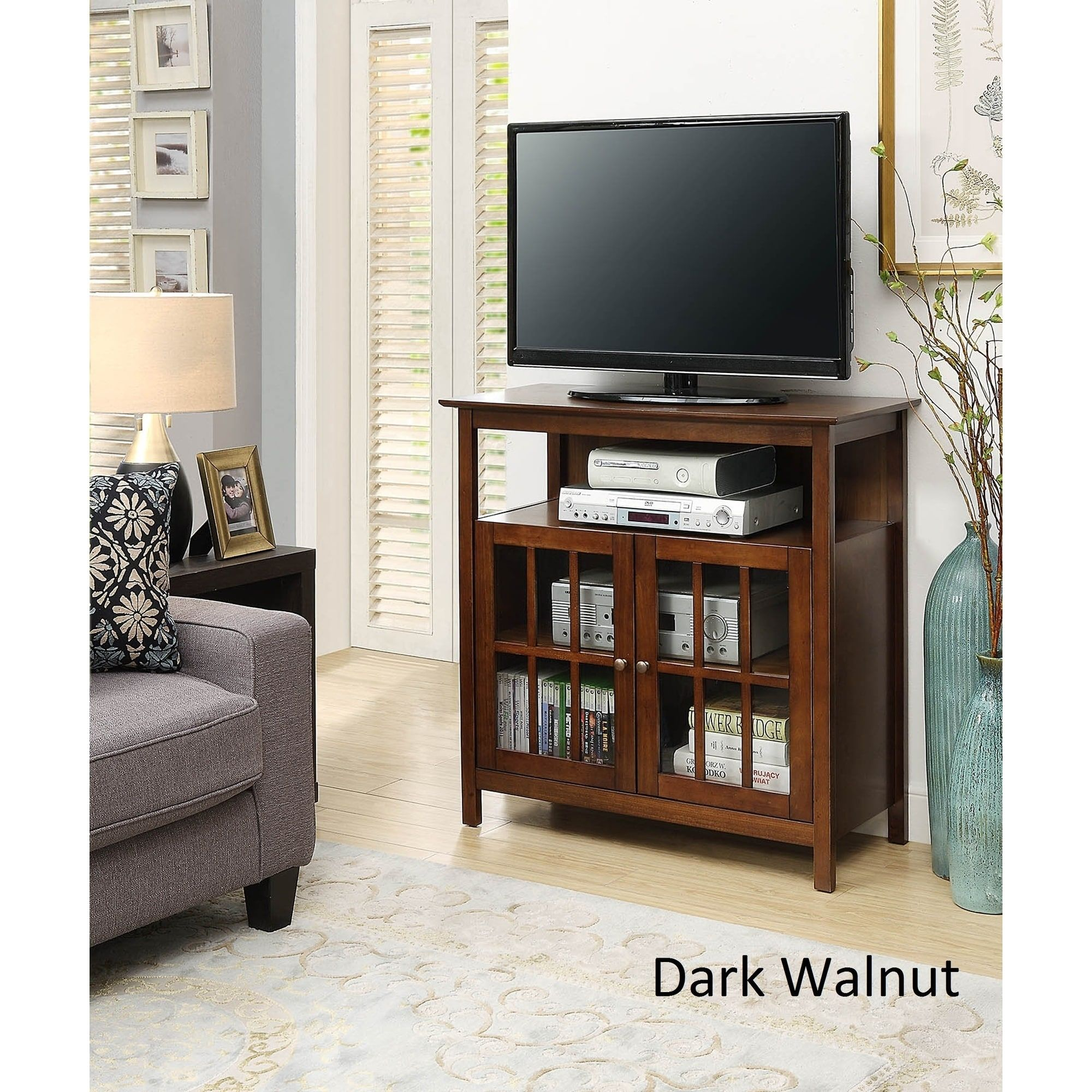 Convenience Concepts Designs2Go Big Sur Highboy TV Stand (Dark Walnut    Dark Walnut Finish)