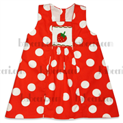 Red with white dot A-line smocked dresses,cute smocked dress
