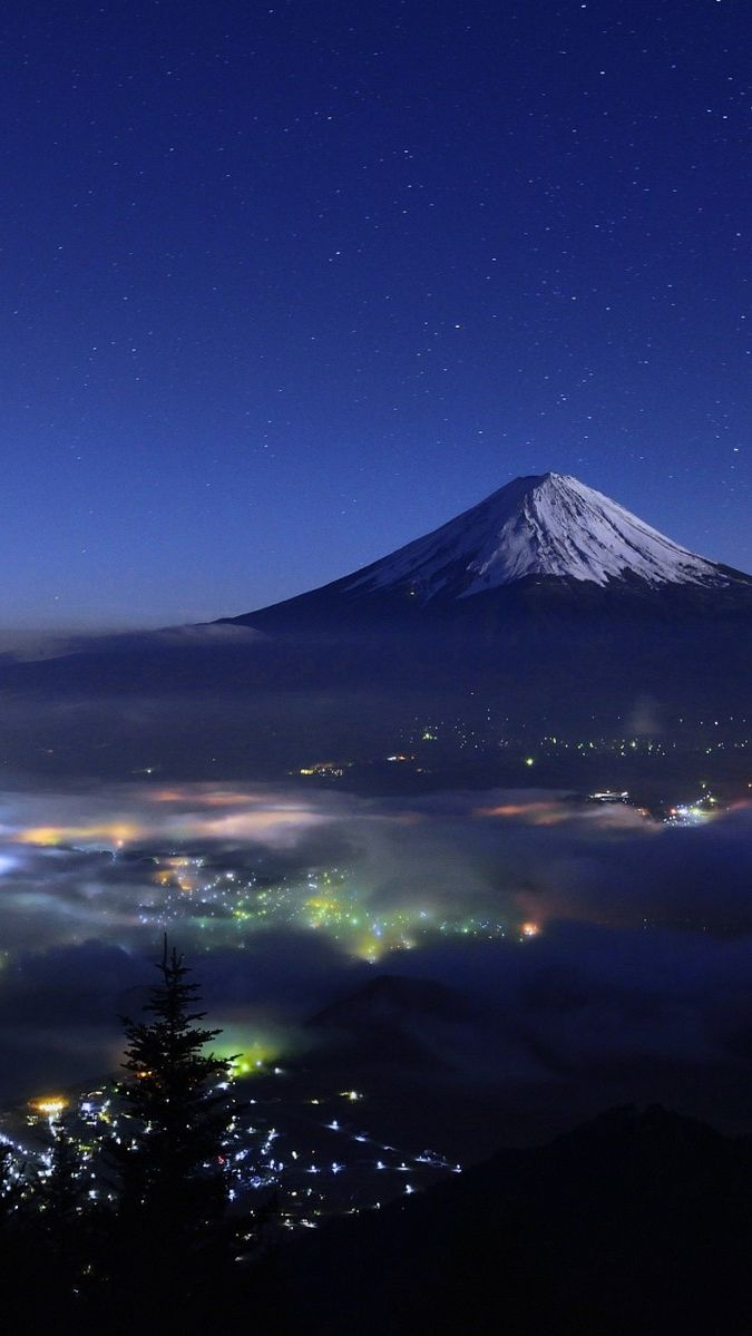 Mount Fuji Japan Night View Iphone Wallpaper Iphone Wallpaper Japan Japanese Wallpaper Iphone Asian Wallpaper