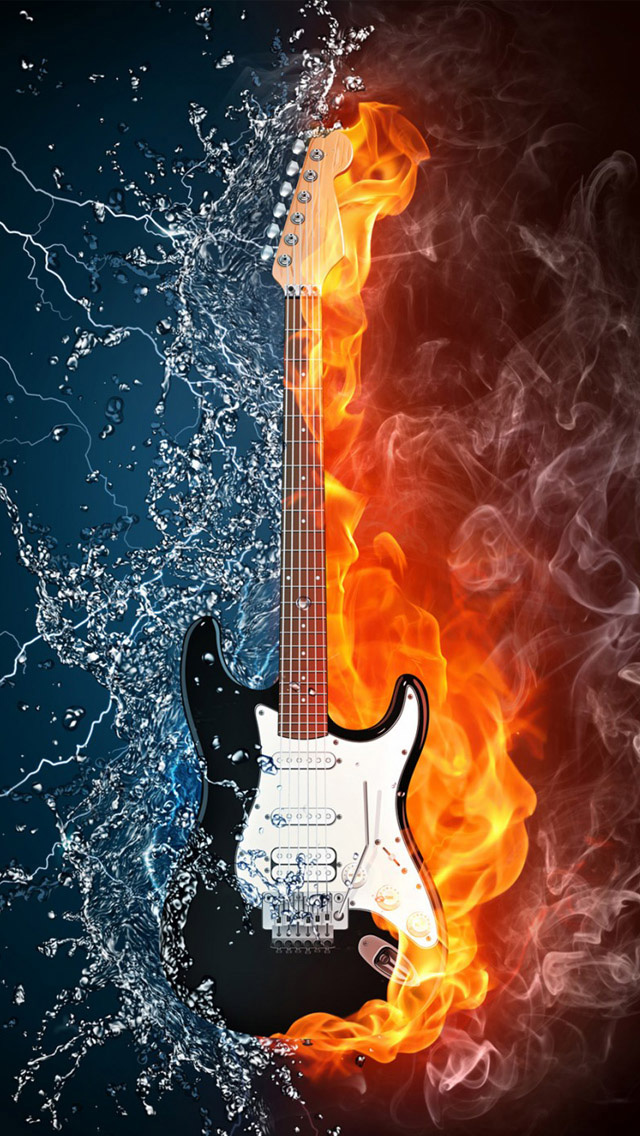 Iphone Wallpapers Sci Fi Fantasy Water And Fire Guitar Hd Iphone Music Wallpaper Guitar Images Music Instruments