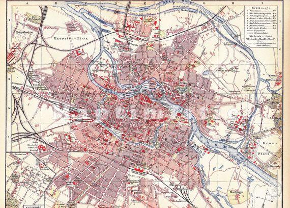 1904 City Of Breslau Germany Present Wroclaw Silesia Poland Original