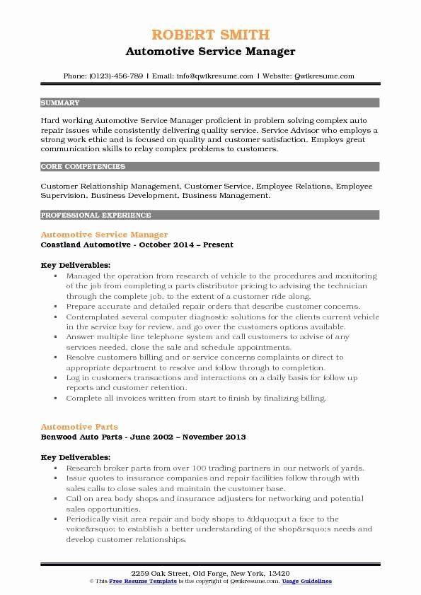 Auto Service Advisor Resume Lovely Automotive Service Manager Resume Samples Job Resume Samples Counselor Job Description Sales Resume Examples