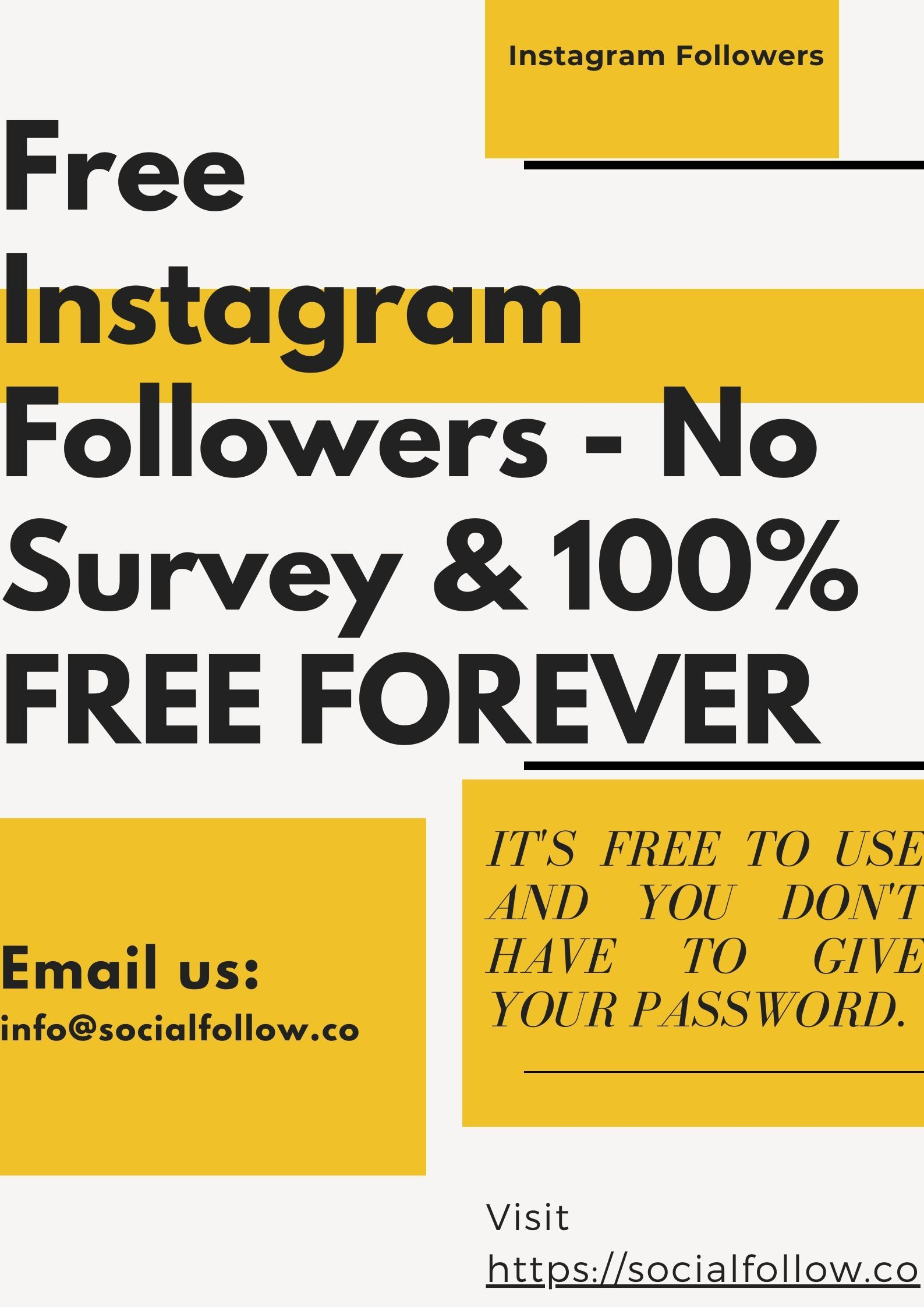 Do you use Instagram for your business, but not getting benefits because your followers are very few? If yes, Socialfollow can help you. We provide Instagram #followersfree. Install our application and get results fast now.