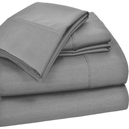 T25O Home Styles Solid Cotton Rich Sheet Set, Gray